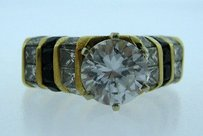 Other 18k Yellow Gold Onyx Diamonds Ladies Ring