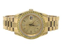 18k Yellow Gold Steel Simulated Yellow Canary Diamond Presidential Watch Mm