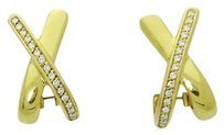 18k Yellow Gold Vs Clarity F Color Round Cut Diamond X Huggie Earrings E229