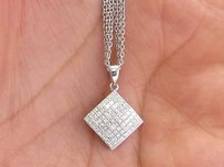 Other 18kt Carriere Princess Cut Diamond White Gold Pendant Necklace 18 1.15ct G-vs1