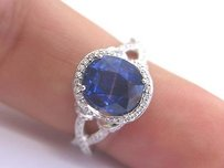 18kt Gem Blue Sapphire Diamond Solitaire With Accent Jewelry Ring 3.45ct
