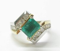 18kt Gem Green Colombian Emerald Diamond Anniversary Ring Wg Yg 2.10ct