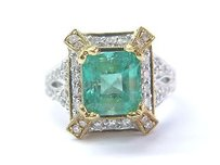 18kt Gem Green Emerald Diamond 2-tone Solitaire W Accent Jewelry Ring 4.58ct