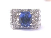 Other 18kt Gem Tanzanite Diamond Anniversary Solitaire W Accent Jewelry Ring Wg 4.50ct