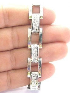 18kt Mens Princess Cut Diamond Invisible White Gold Bracelet 6.72ct