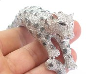 18kt Multi Color Diamond Cheetah White Gold Bangle Bracelet 17.37ct