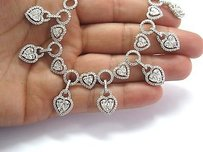 18kt Multi Shape Pear Round Tennis Necklace White Gold 17.51ct 16.5