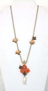 18kt Rose Gold Diamond Fire Coral Freshwater Pearl Necklace