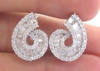 18kt Round Baguette Diamond White Gold Swirl Earrings 21mm 2.84ct