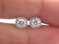 Other 18kt Round Cut Diamond Halo Pave White Gold Stud Earrings 1.00ct G-vs2
