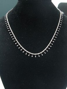 18kt Round Cut Diamond Riviera White Gold Stationary Necklace 16 5.00ct