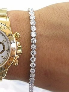 18kt Round Diamond Bezel Set White Gold Tennis Bracelet 42-stones 7.18ct 7.5