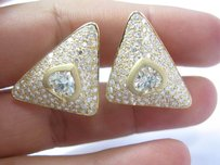 18kt Spade Shape Fancy Light Yellow Diamond Earrings Yg 9.70ct