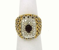 18kt Two Tone Handmade 1.45ctw Diamonds Ruby Open Design Cocktail Ring