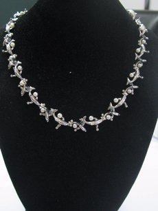 18kt Wyland Artist Dolphin Pearl Diamond White Gold Necklace 17