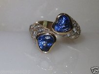 Other 18kt Yellow Ceylon Sapphire Diamond Heart Tension Ring Certified 6.00 Cts