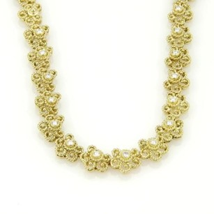 18kt Yellow Gold Diamond Floral Etruscan Design Necklace