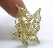 18kt Butterfly Diamond Pin Pendantpin Solid Yellow Gold 1.50ct 2x