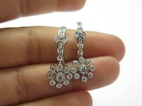 18kt Flower Diamond Solid White Gold Earrings 1.30ct