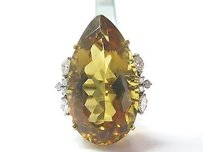 Other 18kt Gem Citrine Diamond Yellow Gold Solitaire W Accents Jewelry Ring 40.70ct