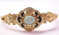 18kt Multi-colored Opal Onyx Diamond Bangle Bracelet Yg 3.85ct