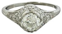 1920s Antique Art Deco Platinum 0.75ct Old Mine Cut K SI1 Diamond Engagement Ring