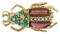 ,Vintage,14k,Yellow,Gold,Diamond,Turquoise,Garnet,Pearl,Bug,Brooch