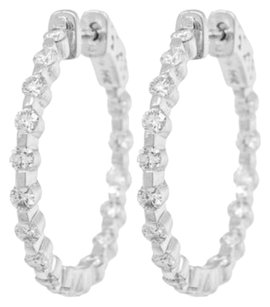 Diamond,Hoops,Earrings,14kt,White,Gold,1.60ct,Ladies,Earrings