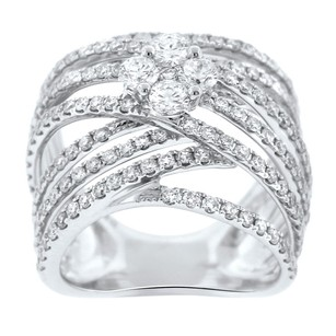 Other 2.20ct Diamond 18k White Gold Ribbed Cross Over Ring