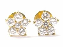22kt Round Cut Diamond Flower Stud Earrings 1.44ct E-vvs