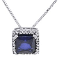 Diamond Necklace White Gold Finish Created Blue Sapphire Square Pendant 1.95 Tcw
