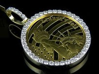 24k Solid Yellow Gold Coin Lady Liberty Half 12 Ounce Diamond Pendant 2.25 Ct
