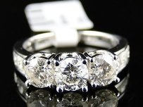 14k Ladies 3 Stone Engagement Wedding Diamond Ring 2 Ct