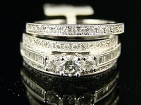 14k Wg Ladies Bridal Engagement Diamond 3stone Ring Set