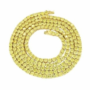 26 Canary Tennis Chain Mm Gold Over Stainless Steel Simulated Diamond