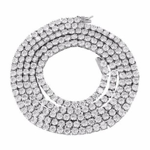 Other 26 Tennis Necklace Stainless Steel Solitaire Link White Gold Finish Mm 1 Row