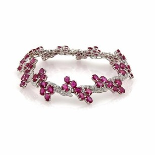 26ct Ruby Diamond 14k White Gold Fancy Floral Link Bracelet