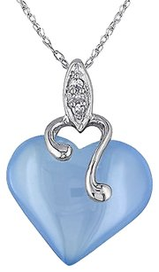 Other 10k White Gold Diamond And 7 15 Ct Blue Chalcedony Heart Love Pendant Necklace