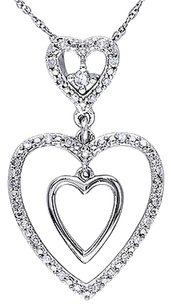 Other 10k White Gold 16 Ct Diamond Tw Heart Love Pendant Necklace Gh I1i2