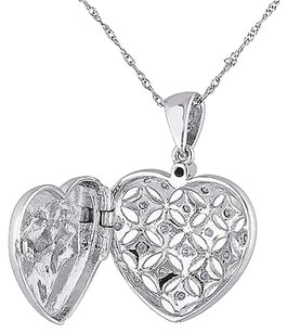 Other 10k White Gold 17 Ct Diamond Tw Heart Love Pendant Necklace Gh I2i3