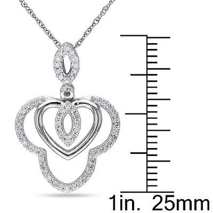 Other 10k White Gold 14 Ct Diamond Tw Fashion Heart Love Pendant Necklace Gh I2i3