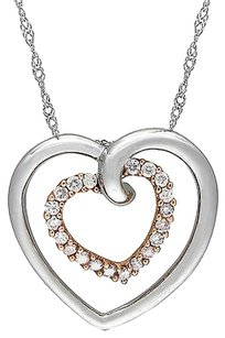 Other 10k White Pink Gold 14 Ct Diamond Double Heart Pendant Necklace Gh I2i3