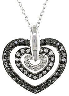 Sterling Silver 12 Ct Black And White Diamond Heart Love Pendant Necklace Gh I3