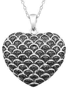 Sterling Silver 12 Ct Black Diamond Tw Fashion Pendant Necklace