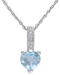 Other 10k White Gold Diamond And 1 Ct Sky Blue Topaz Heart Love Pendant Necklace I2i3