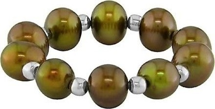 Other Amour Set Of 7 Elastic Multi-color Pearl Sterling Silver Beads Rings 4-5mm