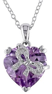 Other Sterling Silver Diamond And 4.6 Ct Amethyst Bow Heart Love Pendant Necklace