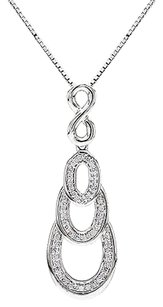 Other Sterling Silver 14 Ct Diamond Infinity Swivel Crossover Pendant Necklace I2i3