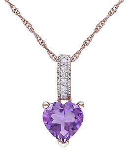10k Pink Gold Diamond And 35 Ct Amethyst Heart Love Pendant Necklace Gh I2i3