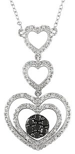 Sterling Silver 12 Ct Black And White Diamond Heart Stacked Necklace Gh I3 16